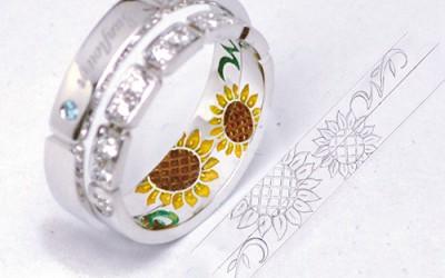 ひまわりのカラー彫刻の結婚指輪