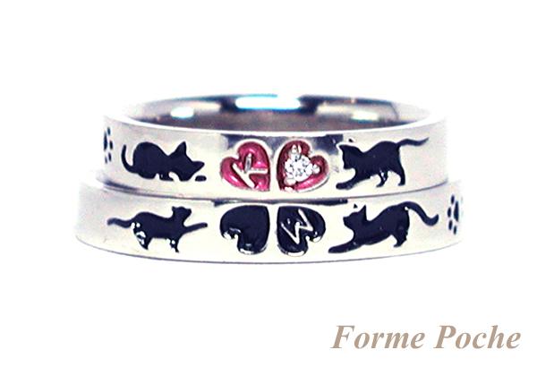 hi160114w1016-R2 オーダーメイドの結婚指輪 ネコとクローバーの彫刻b