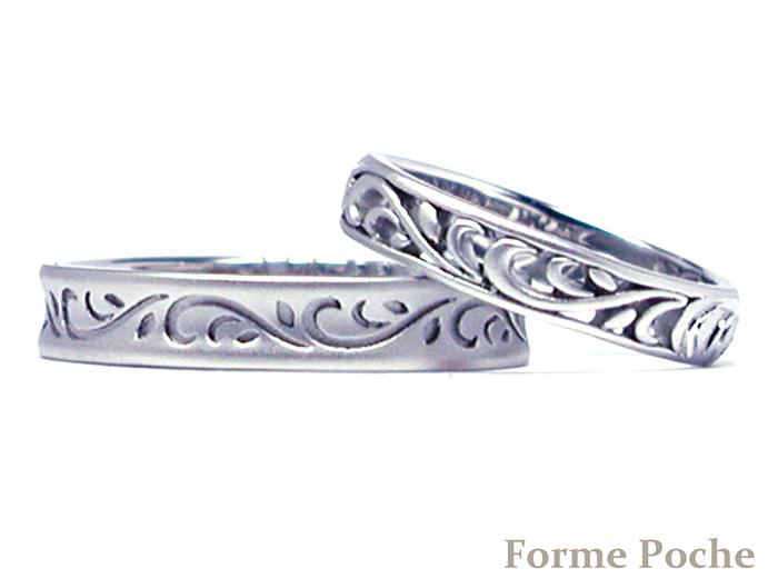160124w10002‐R2 オーダーメイド結婚指輪 透かし 唐草b