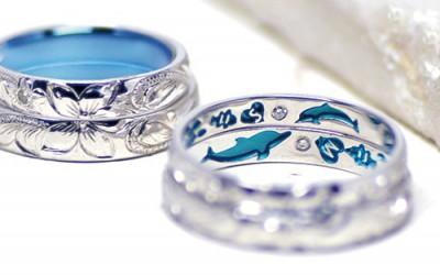 ハワイアンのイルカの結婚指輪