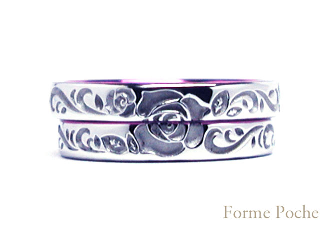 hi160115w1017-R1 薔薇の彫刻唐草 結婚指輪