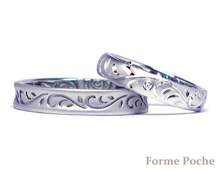 160124w10002‐R1 オーダーメイド結婚指輪 薔薇 唐草 手彫りb