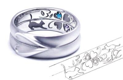 猫クローバーの結婚指輪s