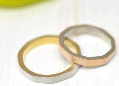 十角形のコンビ結婚指輪