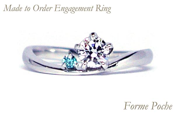 hi160317w1011ring3 オーダーメイド婚約指輪 シンプル ブルーダイヤ