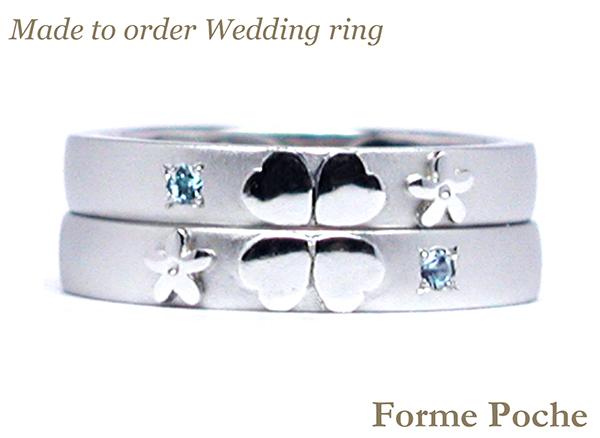 hi160317w1013-1 Made to order Wedding ring 誕生石 クローバー 勿忘草