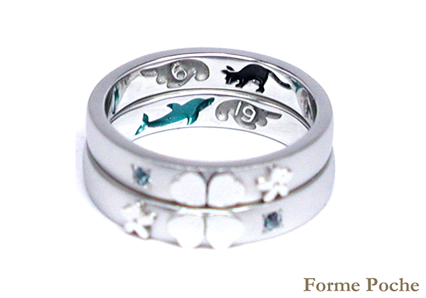 hi160317w1013-1 Made to order Wedding ring イルカ ネコ 羽 記念日
