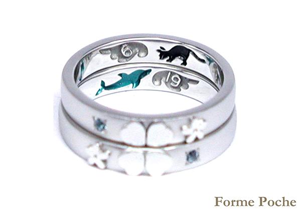 hi160317w1013-1 Made to order Wedding ring イルカ ネコ 羽 記念日