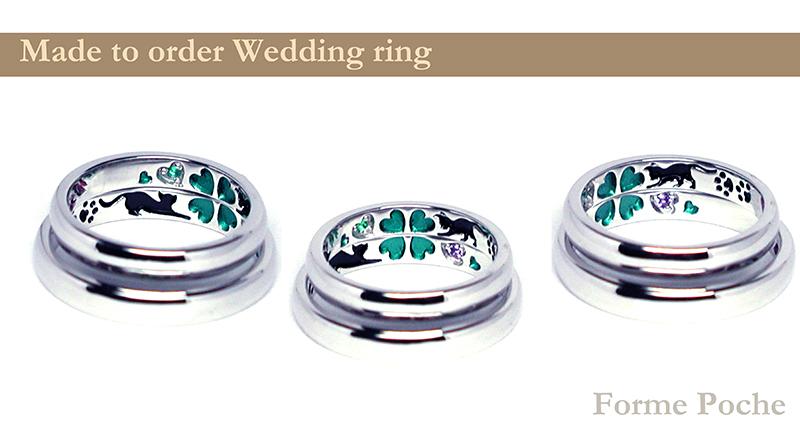 hi160321t2 Made to Order Weddingring  ring inside01 クローバー ネコ カラフル