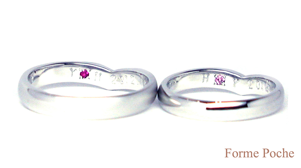160327t5 Made to Order Wedding ring ネコ オーダーメイド結婚指輪内側誕生石01