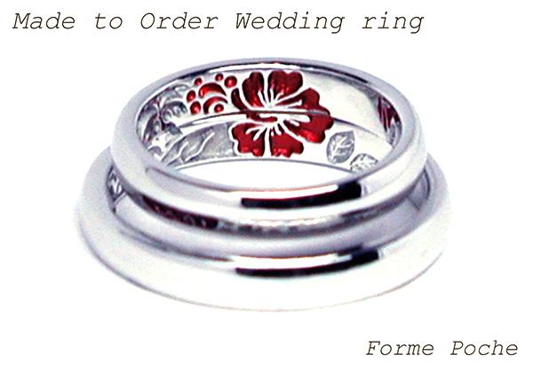 hi160414tw003 結婚指輪オーダーメイド刻印 ハイビスカス 大阪