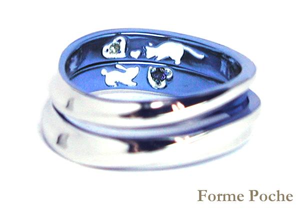 hi160409w1020 Made to Order Wedding Ring カラフル うさぎ ネコ 誕生石
