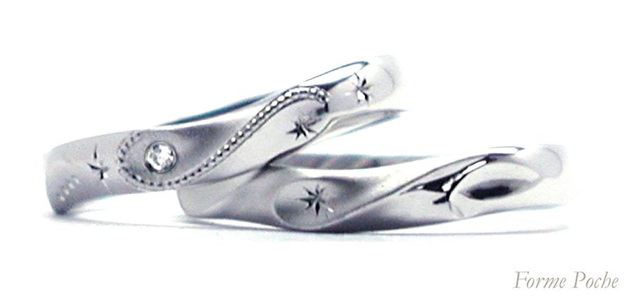 hi160403w1010 オーダーメイド結婚指輪 イニシャル ミルグレイン 星