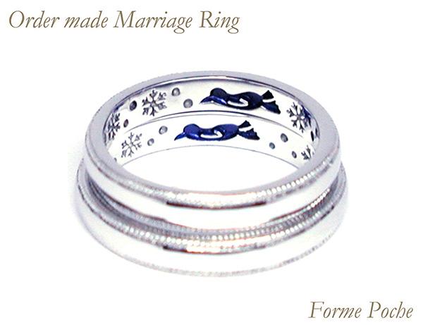 hi160529w1045-ring02 オーダーメイドの結婚指輪 シンプル 内側刻印 ペンギン 雪の結晶