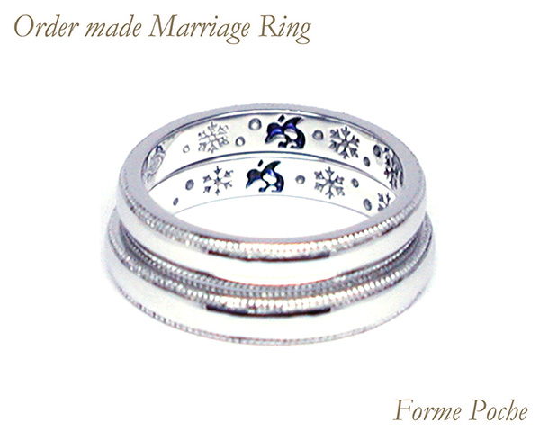 hi160529w1045-ring04 オーダーメイドの結婚指輪 シンプル 内側刻印 ペンギン 雪の結晶