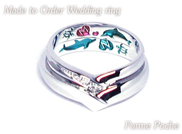 hi160514TW12 大阪のオーダーメイド結婚指輪 裏側刻印 イルカ イニシャル ホヌ