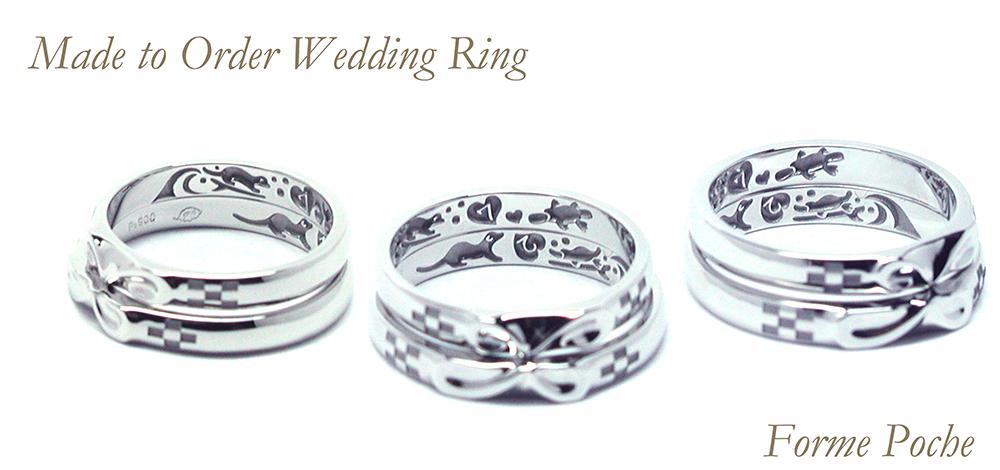 hi160428w1031R2 オーダーメイド結婚指輪裏側彫刻 カモノハシ カワウソ サーフィン