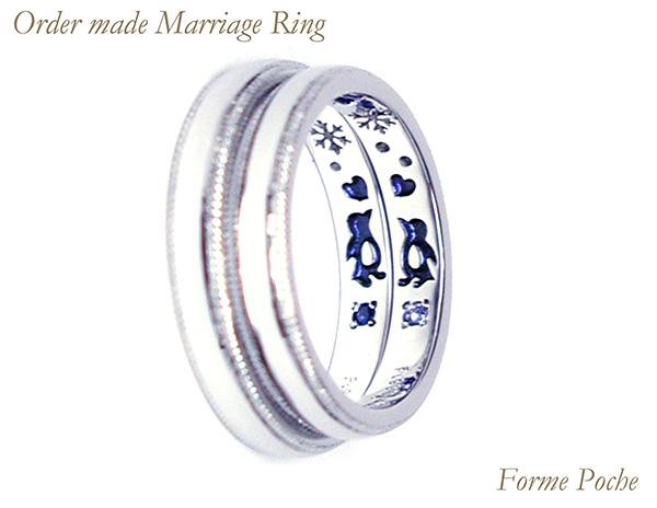 hi160529w1045-ring03 オーダーメイドの結婚指輪 シンプル 内側刻印 ペンギン 誕生石