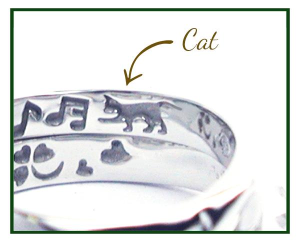 hi160530w1036オーダーメイド結婚指輪裏側彫刻 ネコ