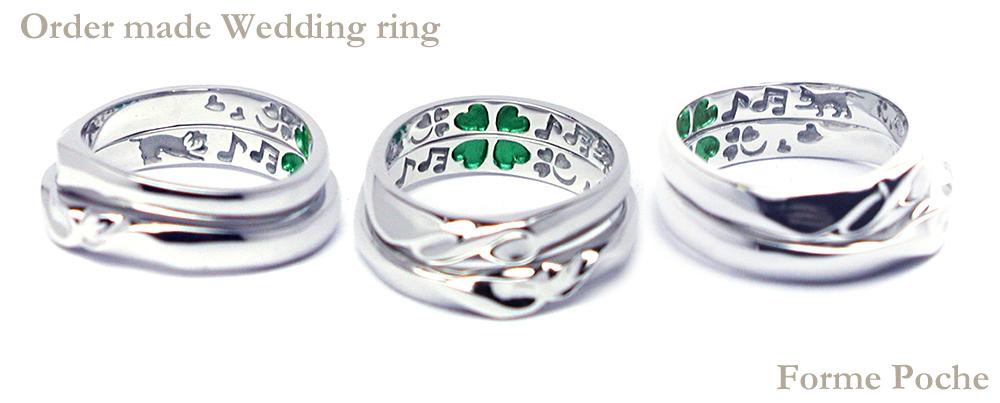 hi160530w1036オーダーメイド結婚指輪裏側彫刻 クローバーと犬&ネコ