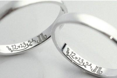結婚記念日と大好きな猫を結婚指輪に刻んで