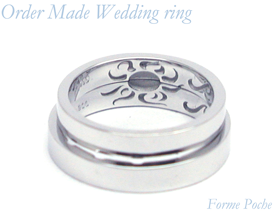 hi160701w1040-R3 結婚指輪のオーダーメイド 大阪 太陽 内彫り インディアン柄
