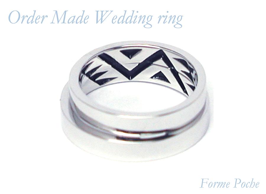 hi160701w1040-R2 結婚指輪のオーダーメイド 大阪  シンプル 内彫り インディアン柄