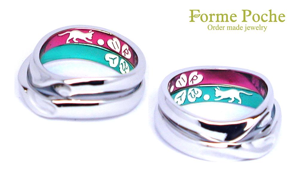 hi160901w1035-05 結婚指輪オーダーメイド ネコ カラー クローバー ゴルフボール 記念日
