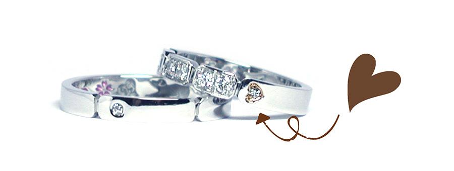 hi161112w1012-3 オーダーメイド結婚指輪 ダイヤ ハート