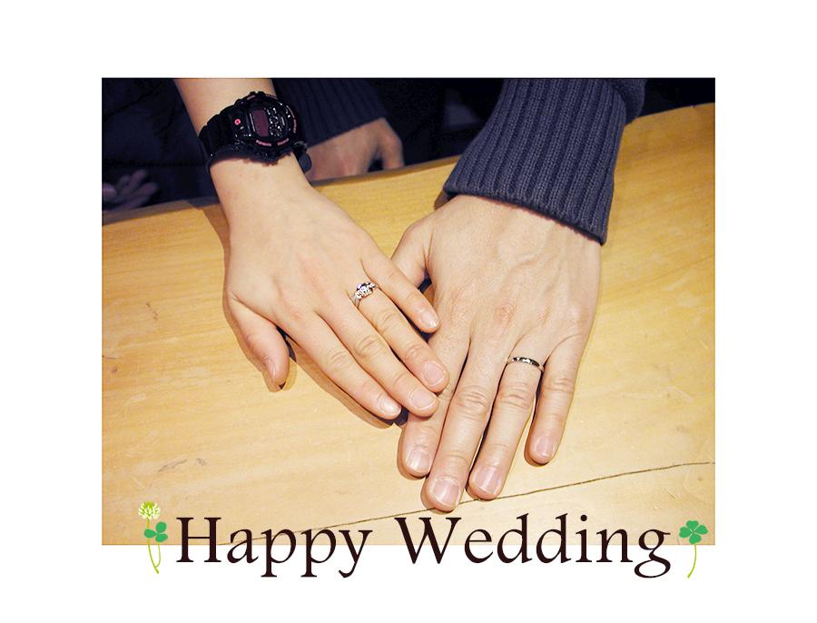 hi161202w1053 オーダーメイド結婚指輪&婚約指輪 シロツメクサ 流星