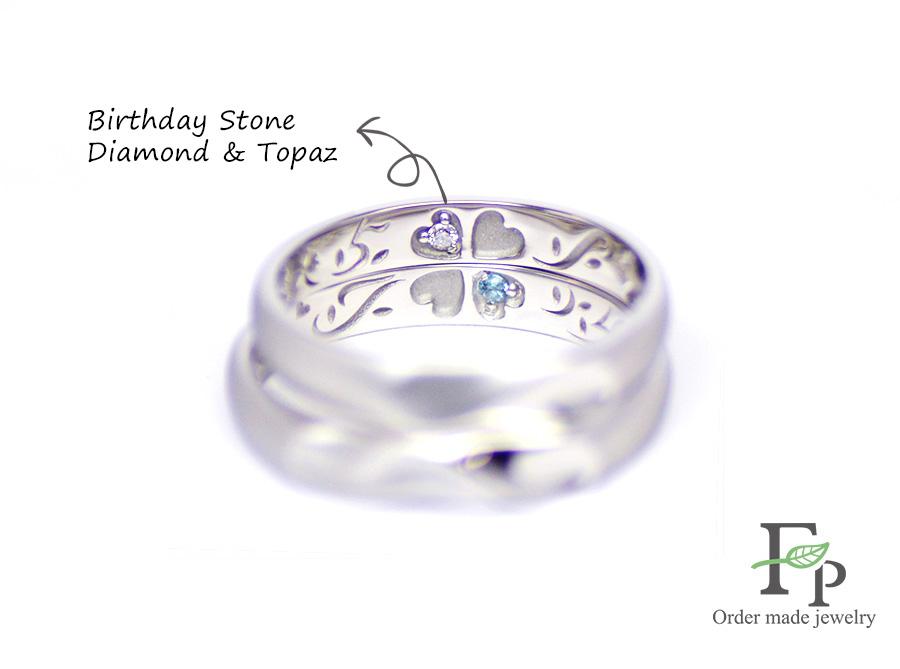 order made Wedding ring 大阪 難波 ネコ イニシャルハート 刻印 w1069R02b