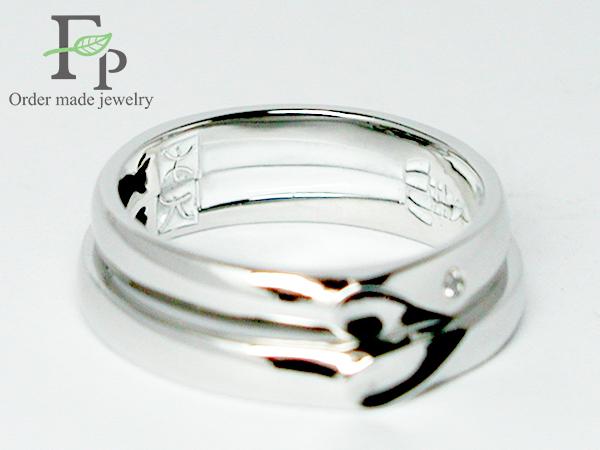 オーダーメイド結婚指輪大阪フォルムポッシュ二人で一つのハートw1044-R02b