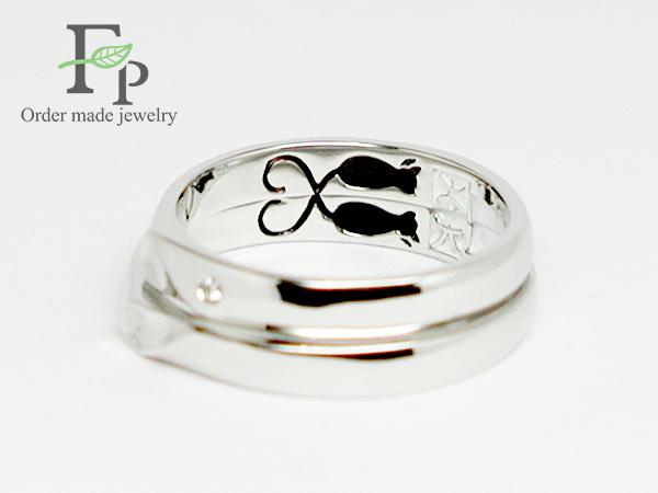 オーダーメイド結婚指輪大阪フォルムポッシュネコw1044-R03b