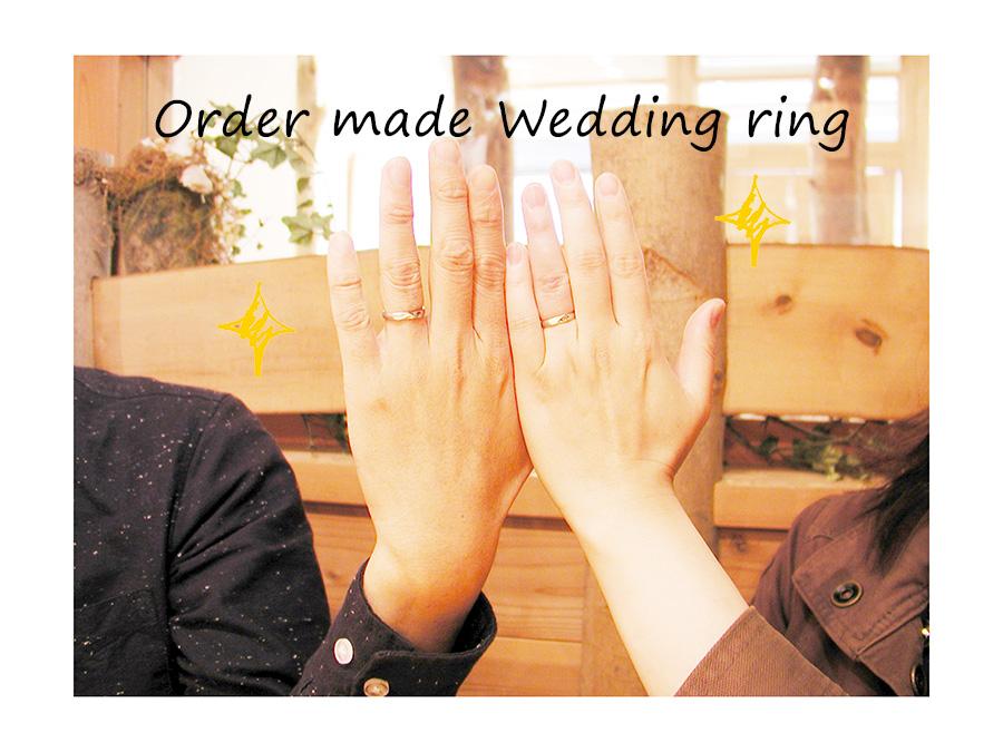 order made Wedding ring 大阪 難波 ネコ イニシャルハート 刻印 w1069