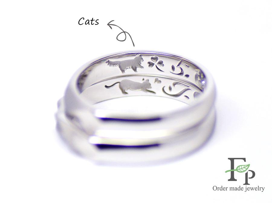 order made Wedding ring 大阪 難波 ネコ イニシャルハート 刻印 w1069R03b