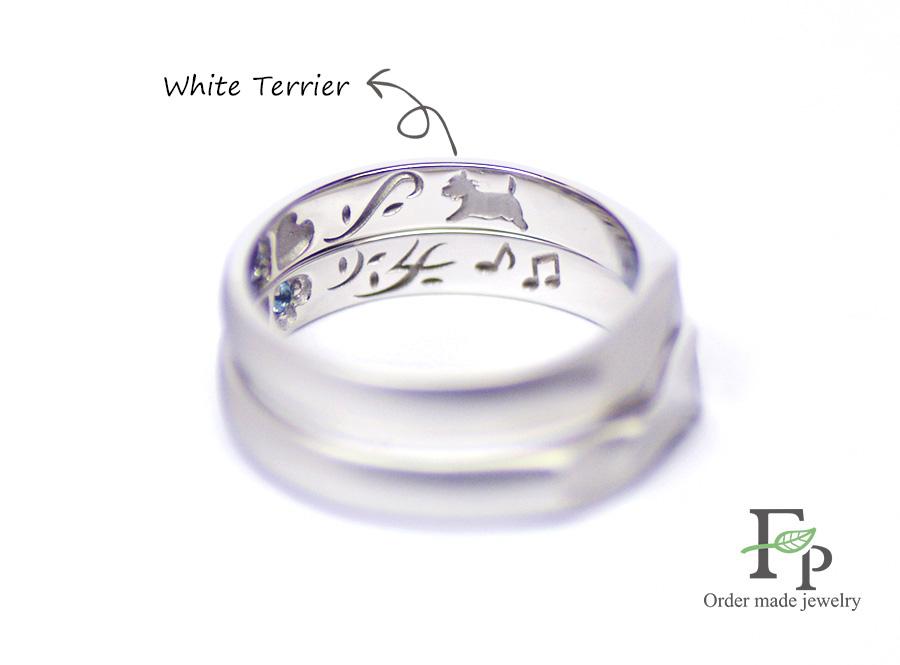 order made Wedding ring 大阪 難波 ネコ イニシャルハート 刻印 w1069R04b