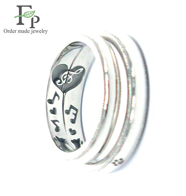 w1062-R01オーダーメイド結婚指輪 内側刻印 ネコ heart 音符