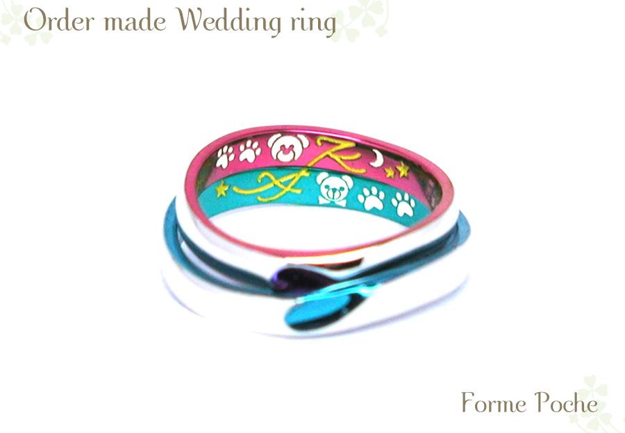 結婚指輪 カラフル オリジナル くま イニシャル w1067hiR02