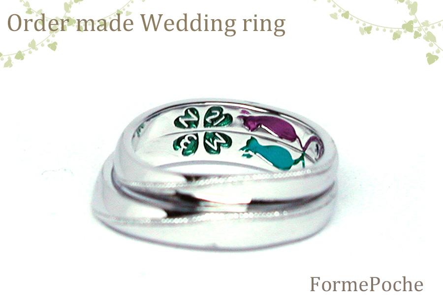 hiw1056r03 結婚指輪 大阪 内彫り 刻印 ネコ