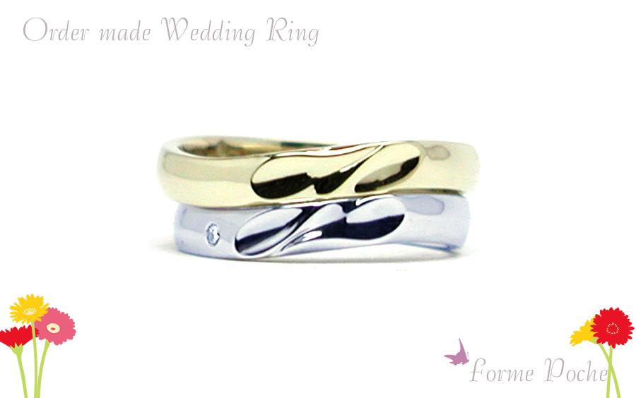 hi170513w1086-02 オーダーメイドの結婚指輪 大阪 ゴールド イニシャル ダイヤ