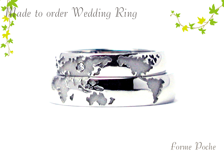 hi170518w946-R1 オーダーメイドの結婚指輪 世界地図 幅広