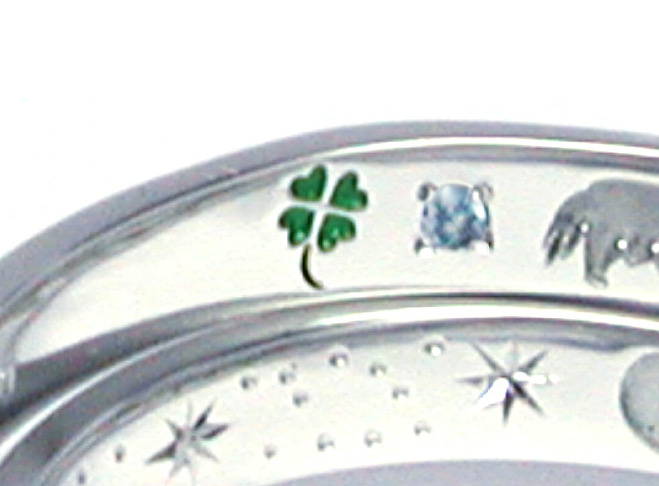 hiw1059-Ring03 結婚指輪の内側刻印 クローバー