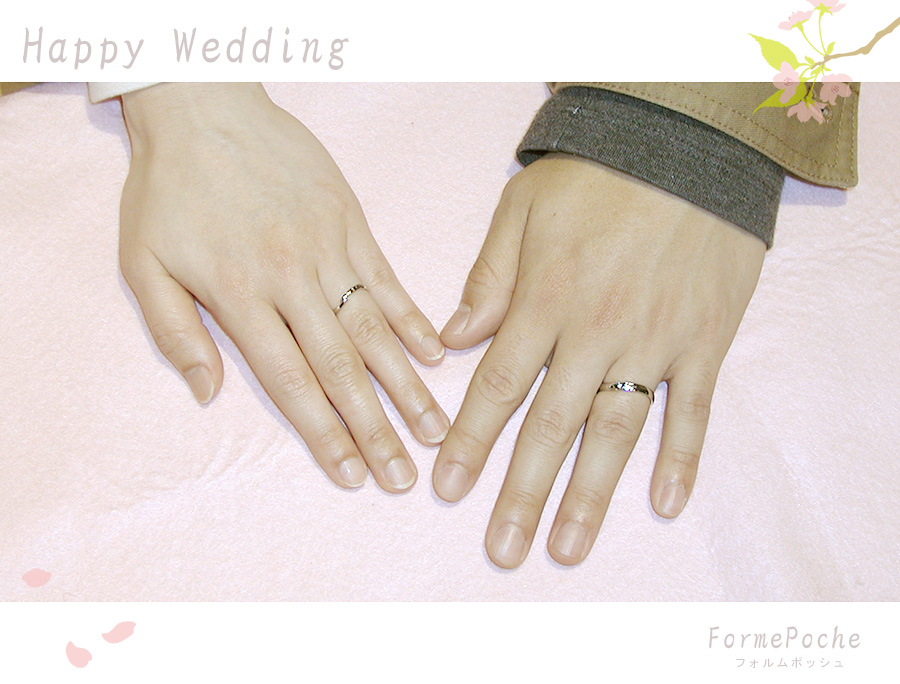 hi170617w1073 イニシャル 手彫り 富士山 桜 結婚指輪 大阪