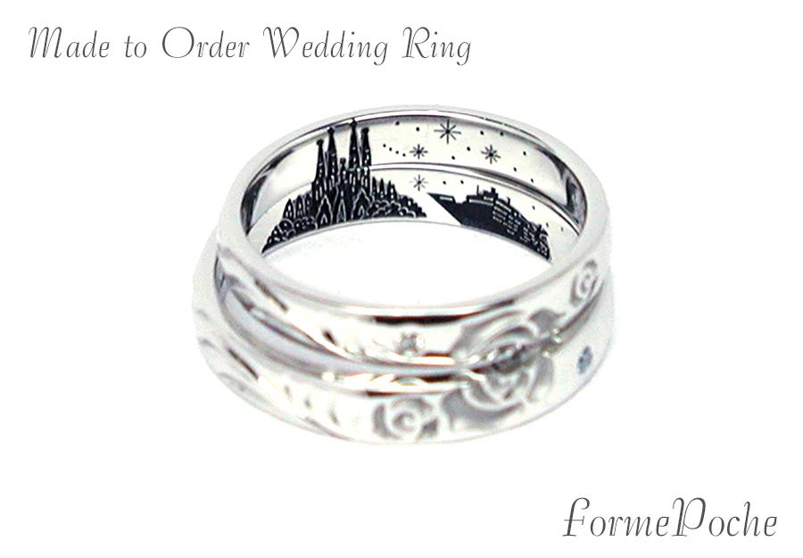 hi170602w1076-R02 オーダーメイド結婚指輪 内彫り サグラダファミリア 船 風景