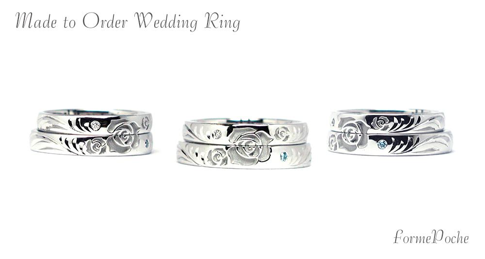 hi170602w1076-R01 オーダーメイド結婚指輪 薔薇 手彫り