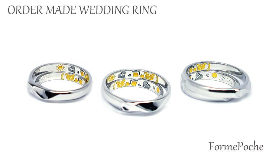 hi170601w1090-R01 オーダーメイド結婚指輪 裏側 刻印 トラ 太陽 月 星 ビール