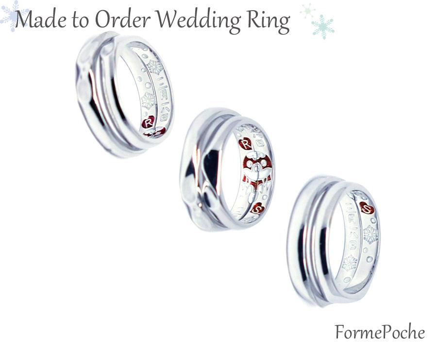 hi170601w1084R02b オーダーメイド結婚指輪 金魚ちょうちん 雪