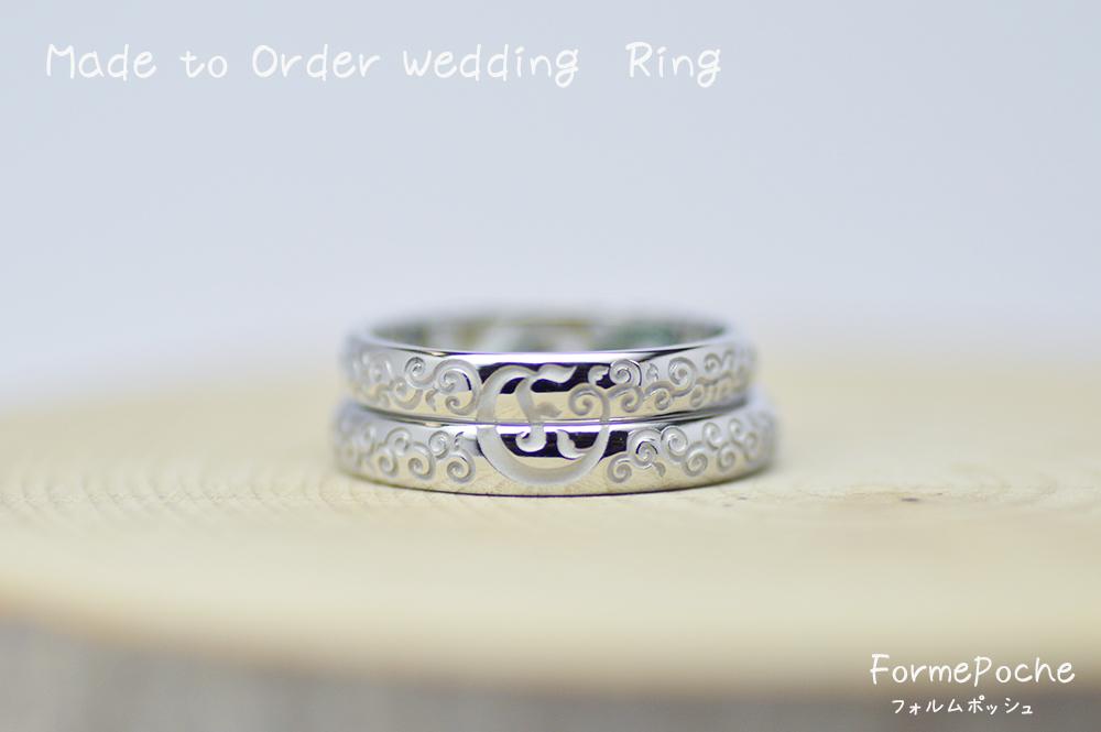 hi170724w1097 オーダーメイド結婚指輪 唐草模様 レーザー彫り