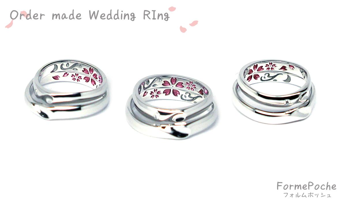 hi170715w1072-R1 オーダーメイドの結婚指輪 内側刻印 桜 月 イニシャル