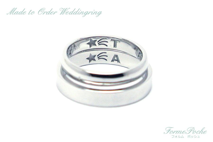 hi170804w1083R4 オーダーメイド結婚指輪 シンプル 内彫り 肉球